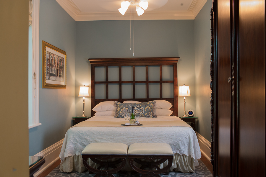 Inside our Luxury King Suite in Savannah
