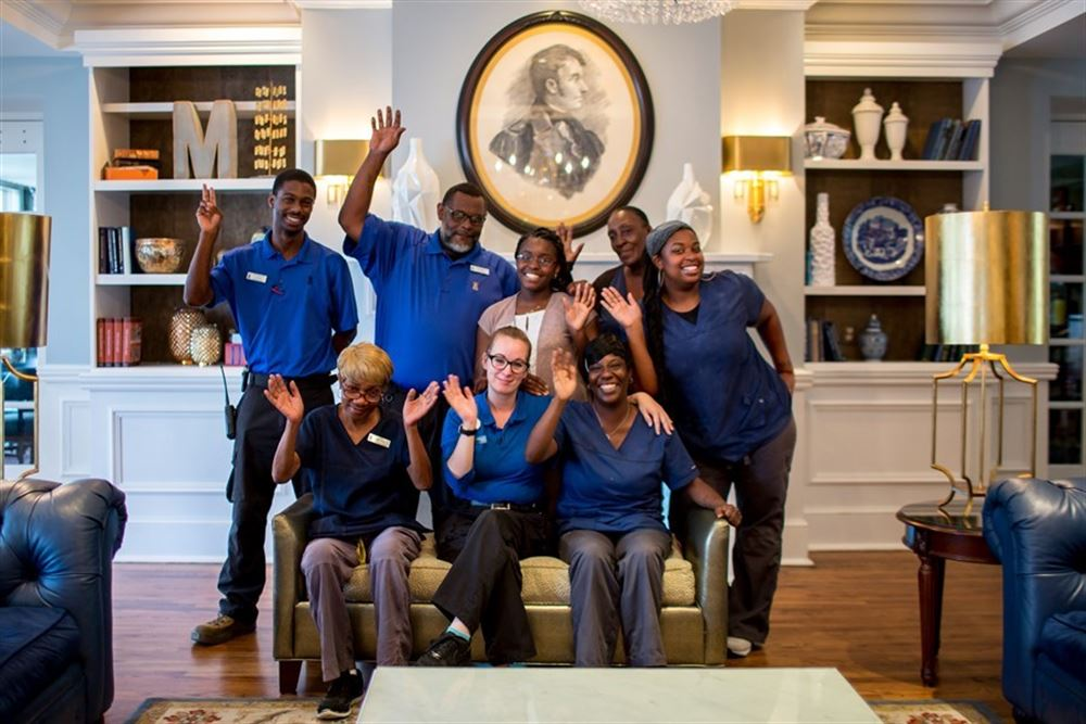 The happy staff of the Marshall House hotel in Savannah, GA